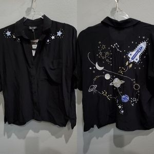 Topshop button up space shirt